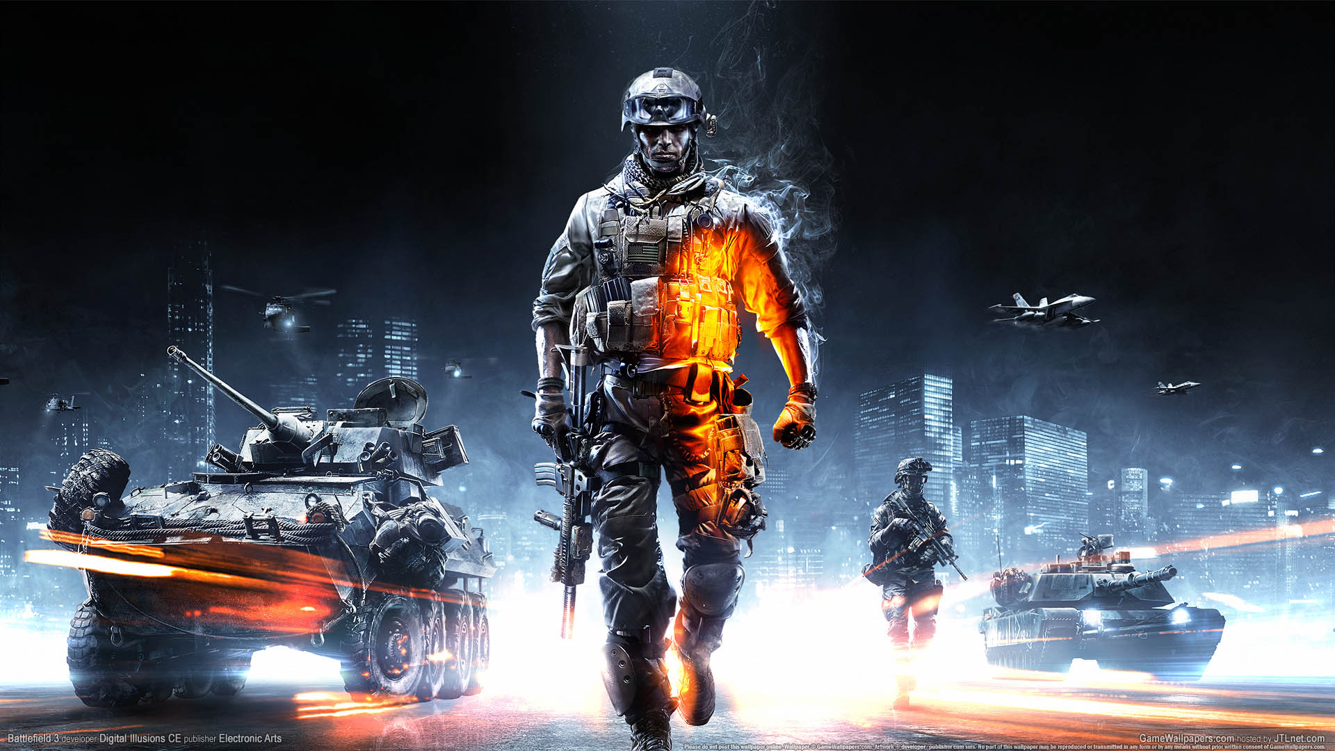 Cool Battlefield 4 Fire Armor In Black Background: Battlefield 3 Wallpaper 01 1920x1080