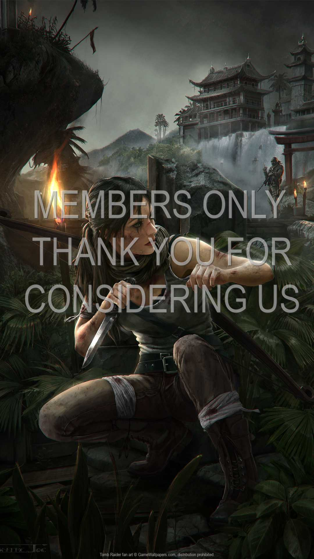 Tomb Raider fan art 1080p Vertical Mobiele achtergrond 09