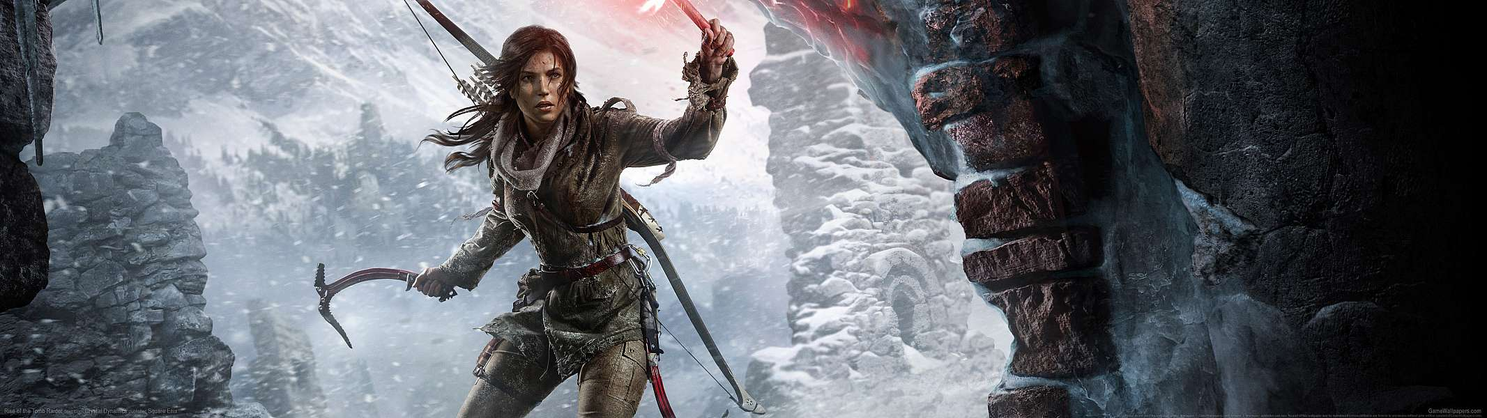 Rise of the Tomb Raider dual screen wallpaper