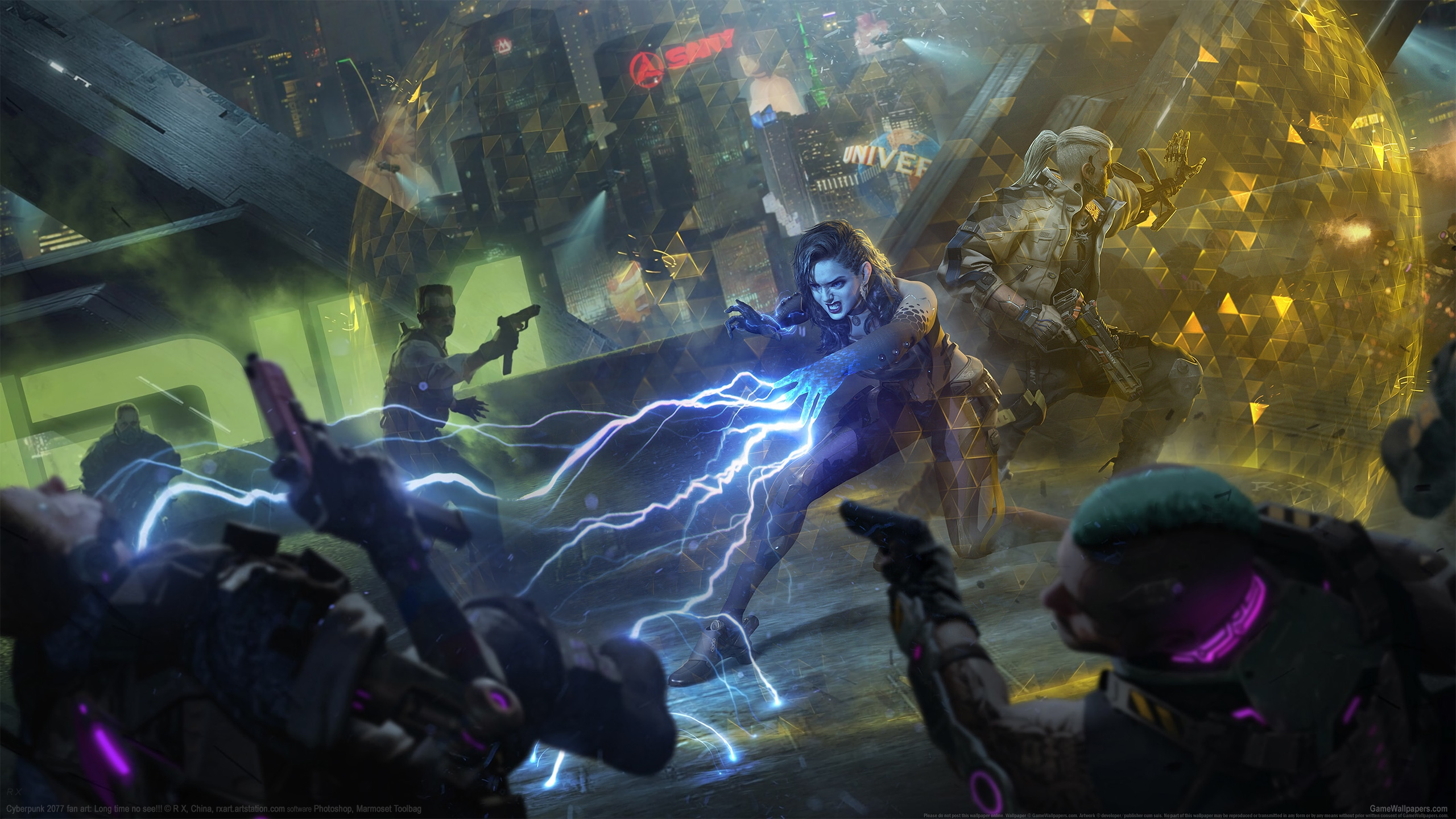 Cyberpunk 2077 fan art 2560x1440 wallpaper or background 02