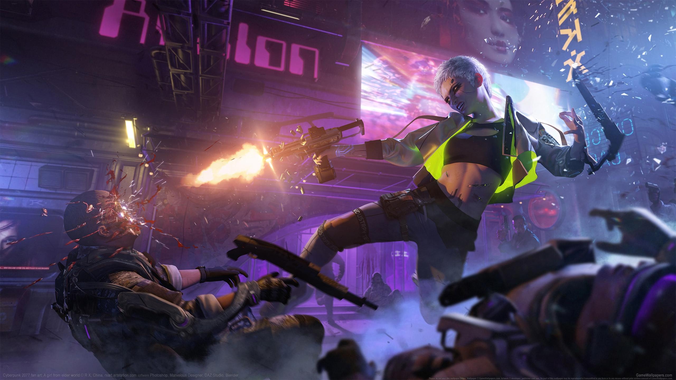 Cyberpunk 2077 fan art 2560x1440 wallpaper or background 03